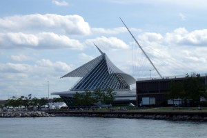 Milwaukee Art Museum -- the ship sailing into Lake Michigan