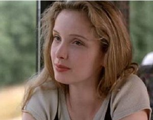 julie delpy before sunrise looks at Ethan Hawke in the train
