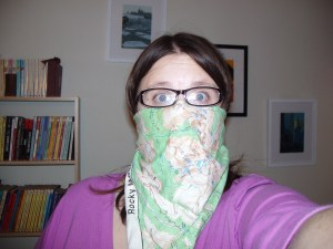 """my aunt gave me this bandana for hiking trips, but turns out it is also useful in those perilous """"quiet night at home"""" situations"""