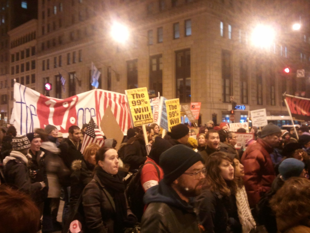 Protesters marching during Occupy Chicago Day of Action 11-17-11