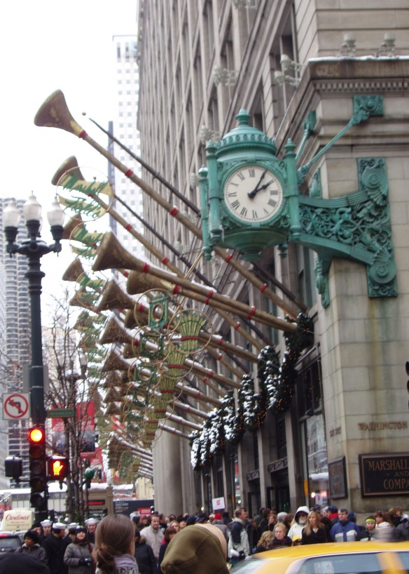 Chicago Marshall Field's Christmas trumpets and clock