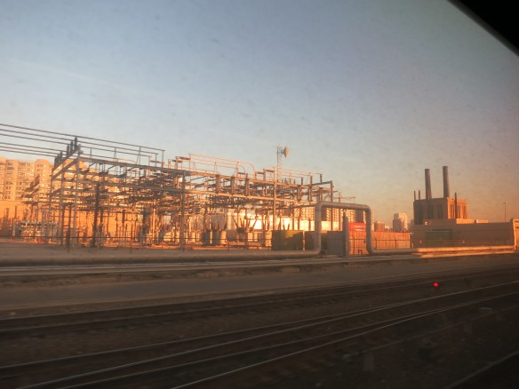 utilities plant from a moving train