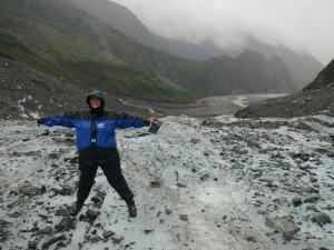 Joy on Fox Glacier, New Zealand