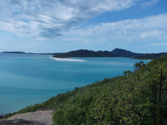 Looking down at Whitehaven Beach