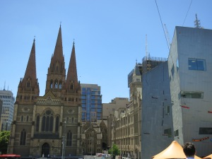 Old and new: St. Paul's and Federation Square