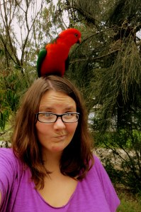 Hanging with royalty (that's an Australian king parrot)