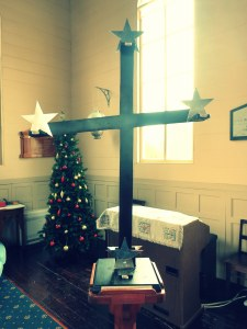 Southern Cross advent wreath in the church in Russell