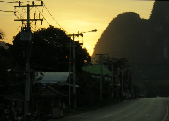 Sunset, road to Krabi Town, Thailand