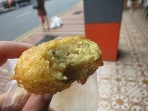 Delicious potato cake, not quite like a samosa, a different kind of dense