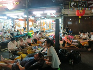 Not a super comfortable set up for mani-pedis and massages, I wouldn't think