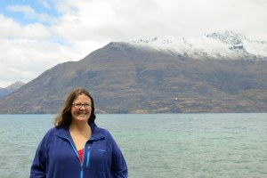 With Lake Wakatipu and a mountain behind me. Snow in January is unheard of down here, so all the locals were excited that I got to see the mountains dusted white with it. They were beautiful!
