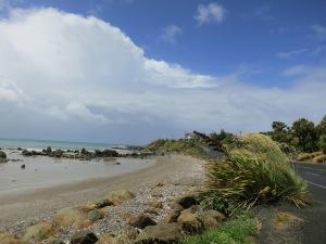 An idyllic beach scene, three minutes after a storm