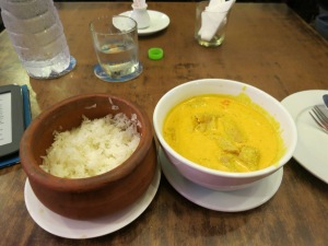 Pork in coconut milk curry and sticky rice; Ho Chi Minh City