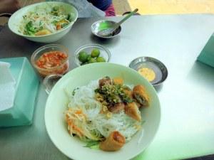 Bún thịt nướng with pork spring rolls; Can Tho