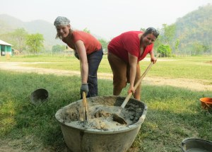 My roommate Annika and I make cement