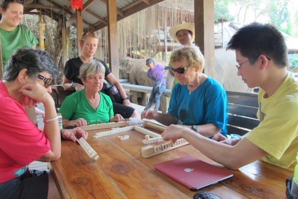 "The ""gray nomads"" of Victoria, Australia played mahjong a few times, and Eric from Guangzhou joined them once (I loved these ladies--inspirations for sure)"