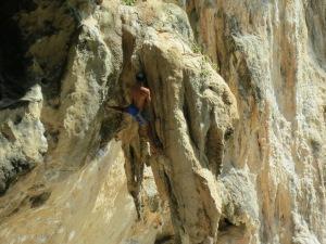 Impressive free climbing at Pra Nang Beach