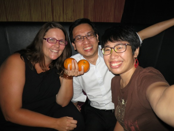 Oranges for luck at the Chinese New Year--with Alan and Mindy