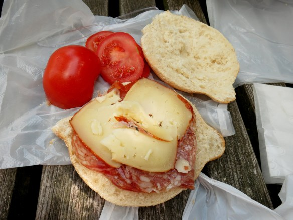 We bought sandwich fixings from a Portuguese deli. This was a very good sandwich.