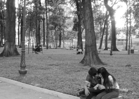 Intimate moments in large parks