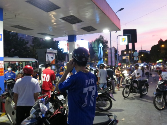 A swarmed gas station