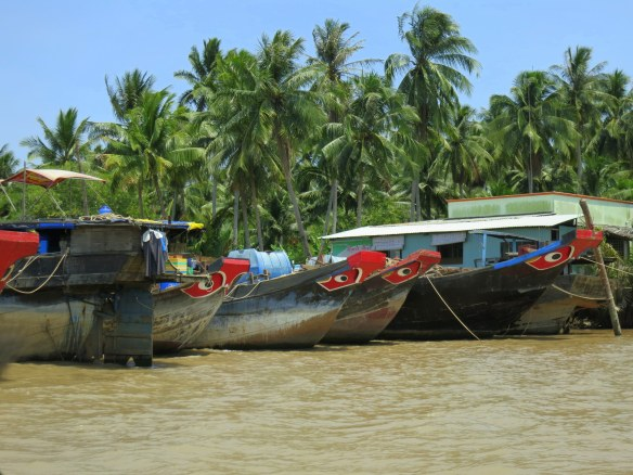 Painted houseboats of the Mighty Mekong