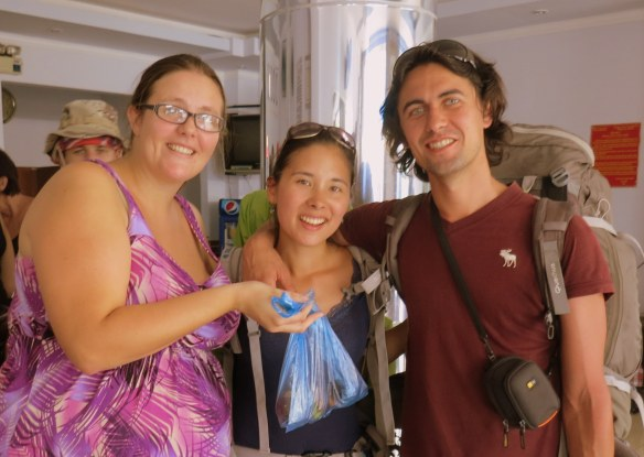 Showing off some fruit we bought together--me, Chrissy, and Nicolas