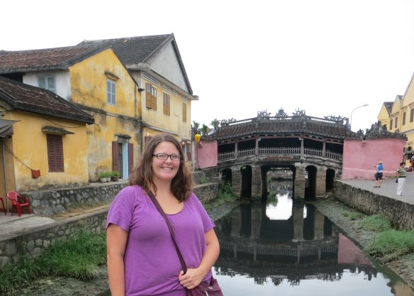 At the Japanese Bridge in Hoi An Ancient Town