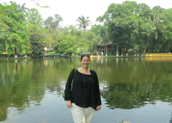It's not a great photo, but those are the clothes I had made in Hoi An. I'm showing them off near Ho Chi Minh's palace in Hanoi, naturally.