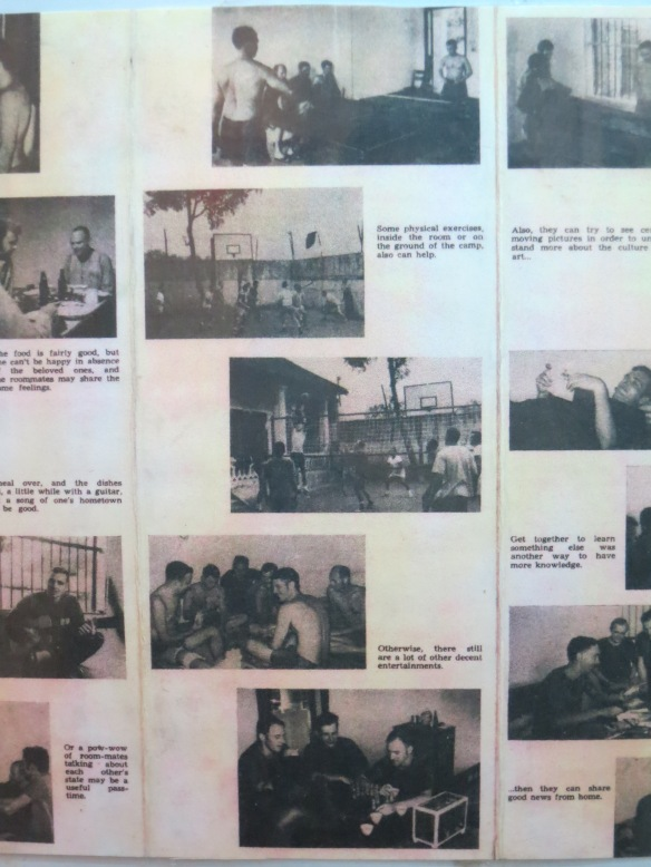 Lots of propaganda photos, accompanied by text detailing the typical life of a POW here