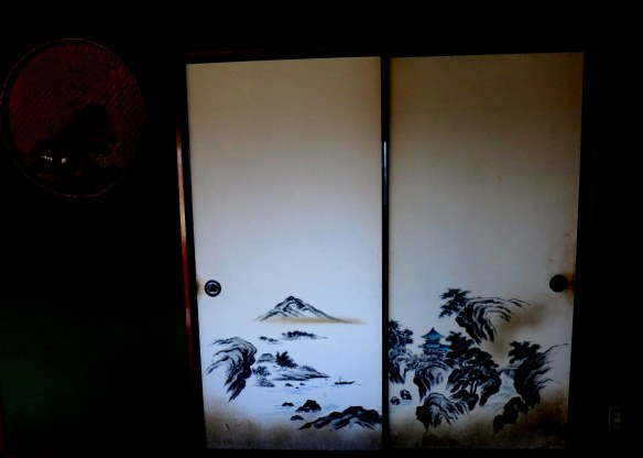 Painted screen doors in the traditional home I stayed in, in Shinrin-koen, Japan
