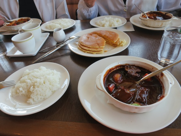 The Shirotas were excited to take me to a breakfast of beef stew and pancakes at a restaurant near their house
