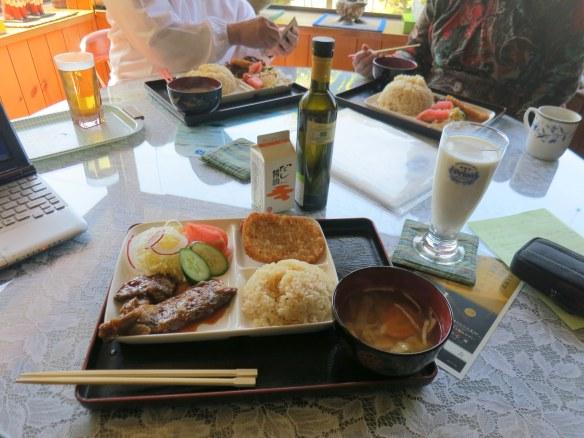 Okinawan spare ribs, cha-han, hasshudo poteto, miso shiru