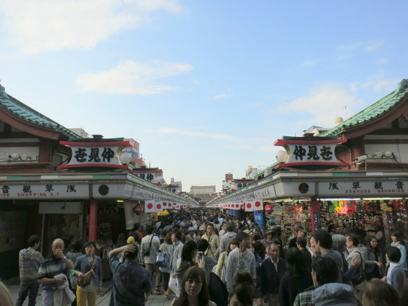 Nakamise-dori, a walking street of souvenirs and snacks leading from the gate to the shrine