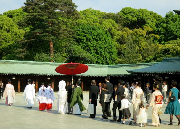 Wedding procession from behind