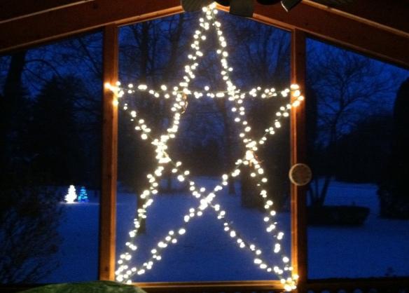 Shining over a wintry Michigan night