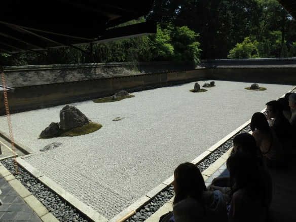 A view of the rock garden of Ryoan-ji