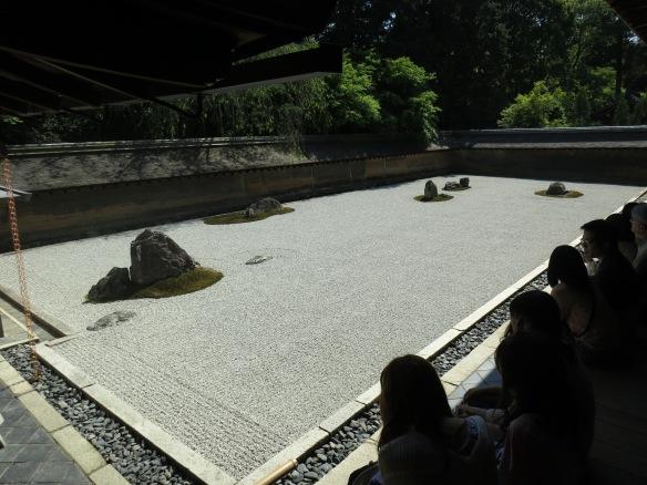 A view of the rock garden of Ryoan-ji