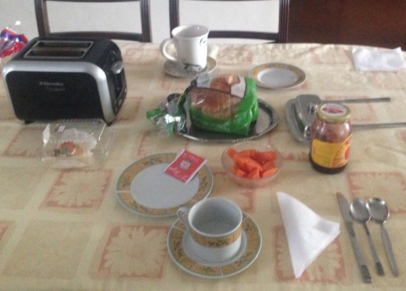 Breakfast is the same every day--tea, fresh fruit, toast, and usually fresh fruit juice