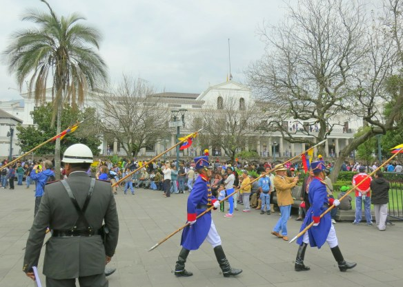 March of the guard, dressed in uniforms like those who fought for independence in the early 19th century