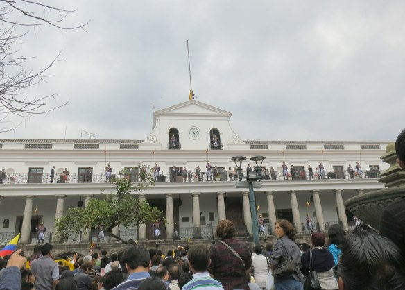 The crowd assembled for the changing of the guard