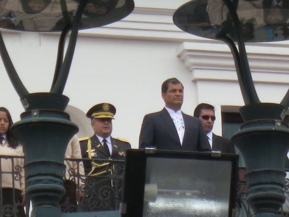 President Correa (my zoom doing what it can next to a streetlight)