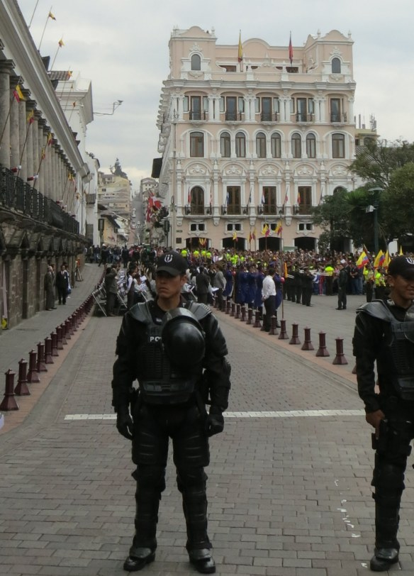 The blocked-off street in front of the palace