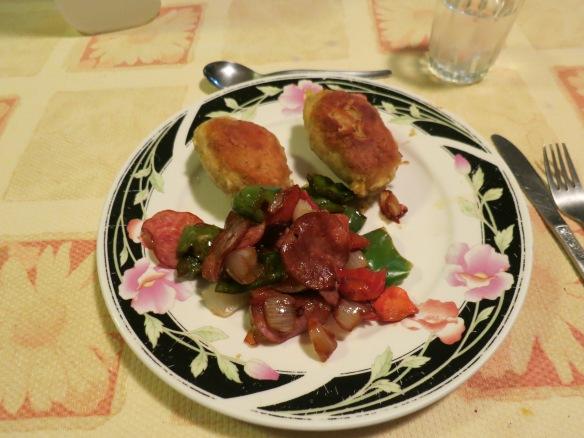 Bolon de verde y salami y vegetales
