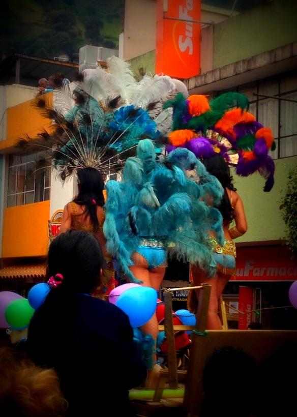 Part of the Carnaval parade in Baños, Ecuador