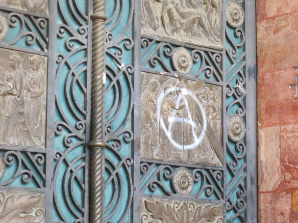 Anarchy symbol on the main church door
