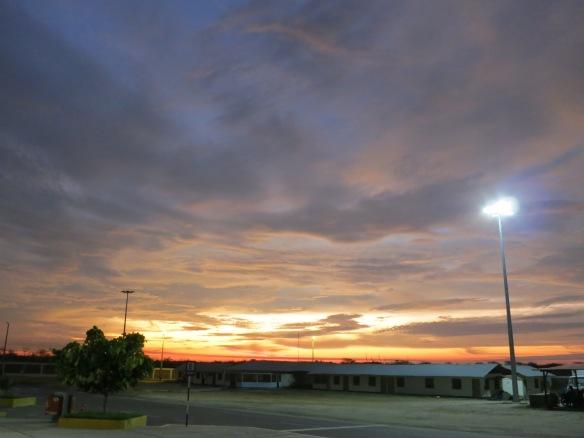 Sunset, the Ecuador-Peru border near Tumbes, on the coast