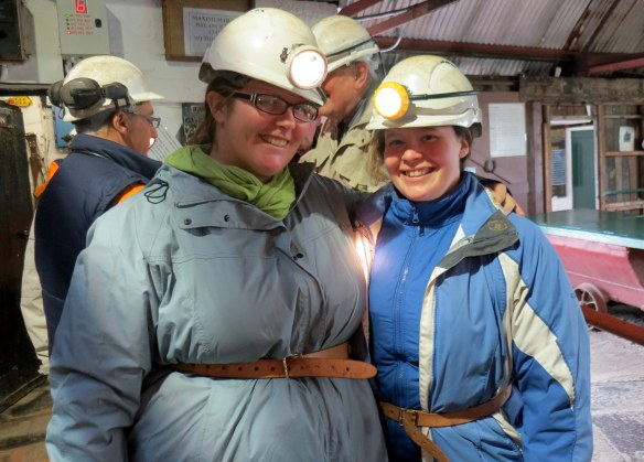 Liz and I are ready to go down the mines