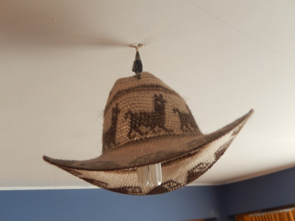 Llama hat lamp, Copacabana, Bolivia; May 10, 2014