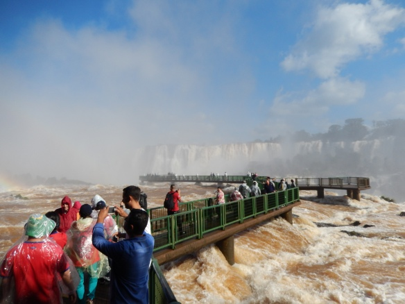 You can walk out in the middle of the falls in the upper level on the Brazilian side